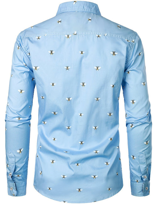 Men's Casual Long Sleeve Fashion Print Cotton Shirt