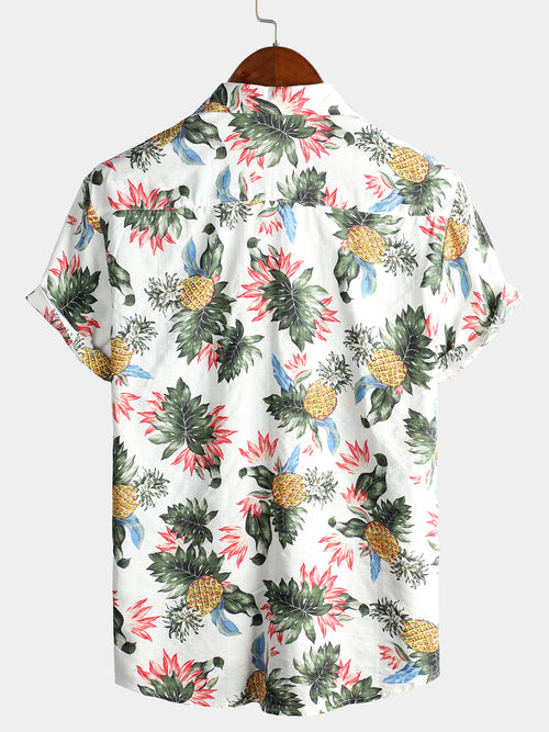 Men's Short Sleeve Pineapple Cotton Shirts
