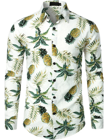 Men's Long Sleeve Pineapple Print Shirt