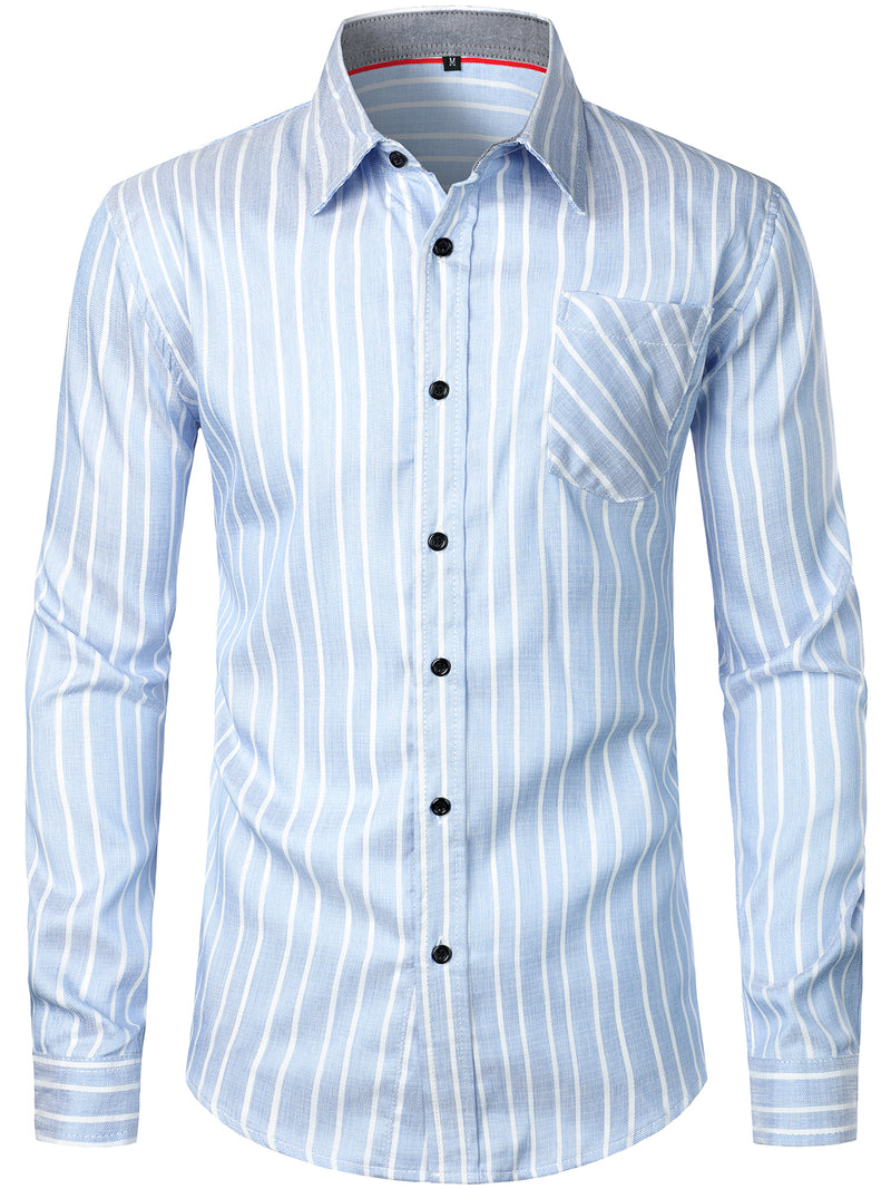 Men's Cotton Striped Long Sleeve Shirt