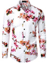 Men's Long Sleeve Casual Floral Print Shirt