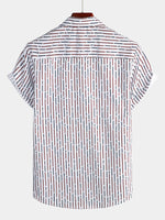 Men's Short Sleeved Casual Button Down Cotton Striped Shirt