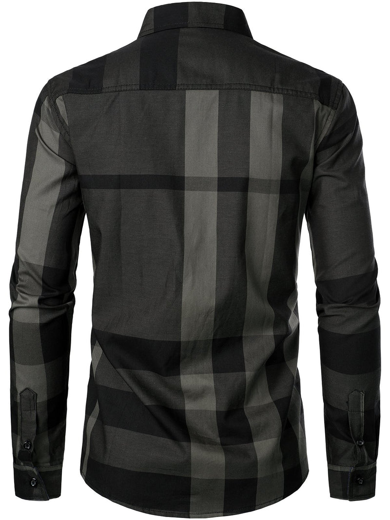 Men's Long-sleeved Cotton Color-blocking Plaid Shirt