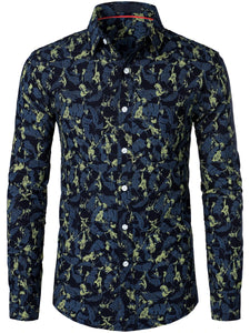 Men's Long Sleeve Casual Floral Print Cotton Shirt