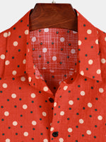 Men's Polka Dots Cotton  Short Sleeve Shirts
