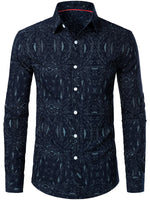 Men's Fashion Casual Cotton Long Sleeve Printed Shirt