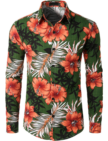 Men's Casual Floral Long Sleeve Shirt