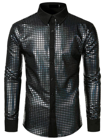 Men's Dress Shirt Sequins Button Down Long Sleeve Shirts Disco Party Costume