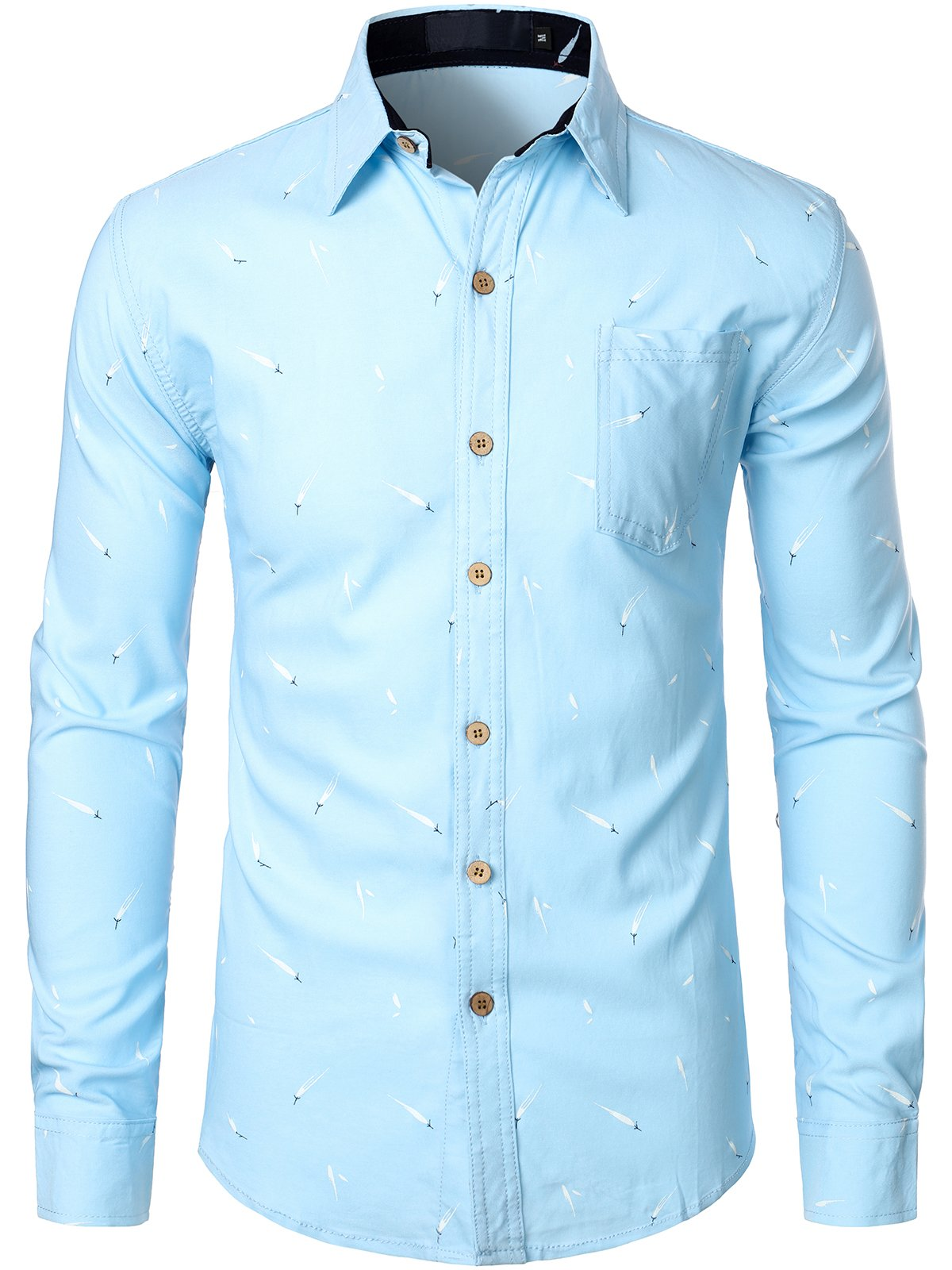 Men's Casual Cotton Button Up Regular Fit Long Sleeve Shirt