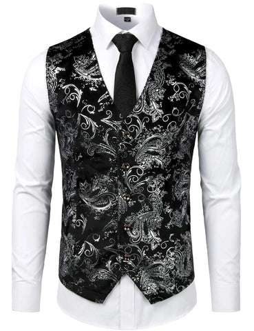 Mens Hipster Metallic Paisley Print Single Breasted V-Neck Suit Vest/Tuxedo Waistcoat