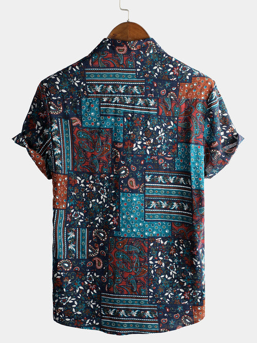 Men's Short Sleeve Floral Cotton Shirts