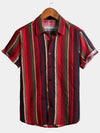 Men's Casual Striped Cotton Short Sleeve Shirts