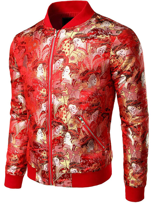 Men's Vintage Embroidered Satin Flight Bomber Jacket Coat