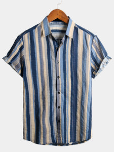 Casual Striped Cotton Short Sleeve Shirts