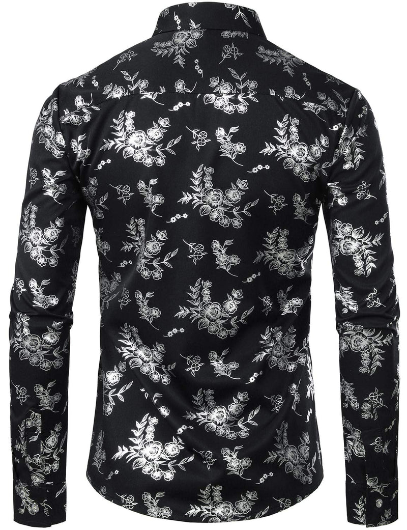 Men's Long Sleeve Regular Fit Casual Floral Print Shirt
