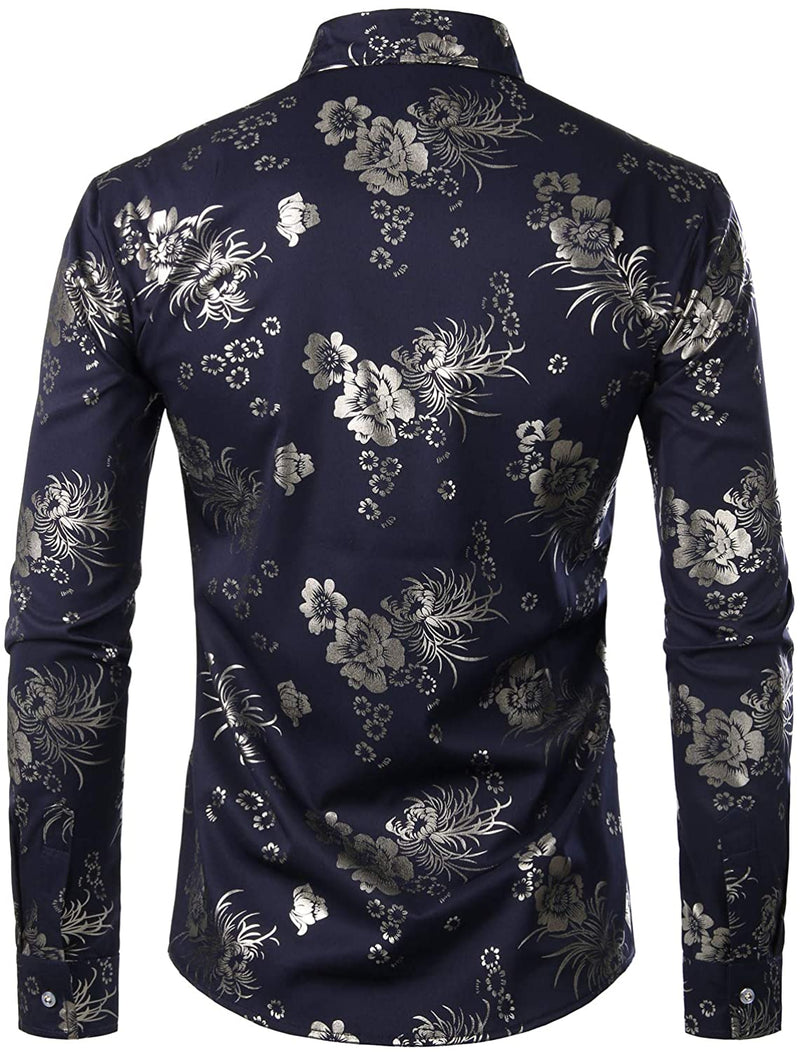 Men's Floral Long Sleeve Casual Button Down Shirt