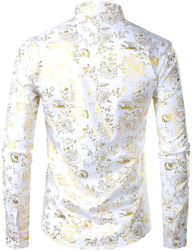Men's Party Design Shiny Golden Floral Long Sleeve Dress Shirts