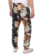 Men's Jogger Cotton Pants Flower Printed Drawstring Trousers(Yellow)