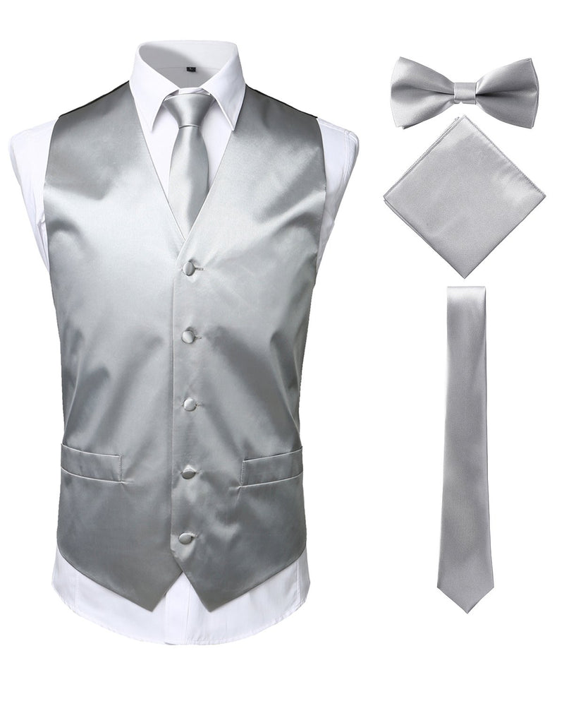 Men's 4pc Tuxedo Vest Suit Vest Paisley Vest Set with Bow Tie Neck Tie & Pocket Hanky