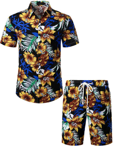 Men's Flower Casual Button Down Short Sleeve Hawaiian Shirt Suits(Oldblack)