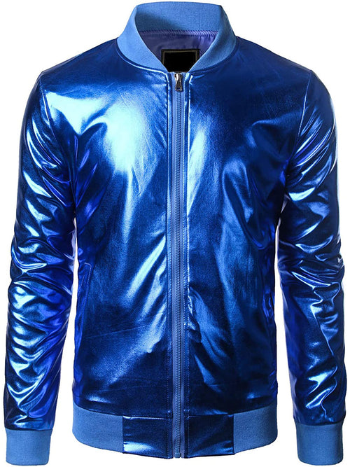 Men's Metallic Nightclub Styles Bomber Jacket