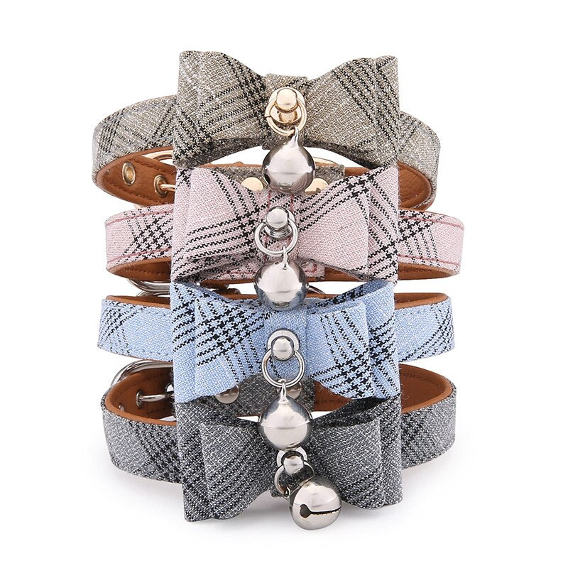 Elegant Pet Bow Knot Collar with Bell
