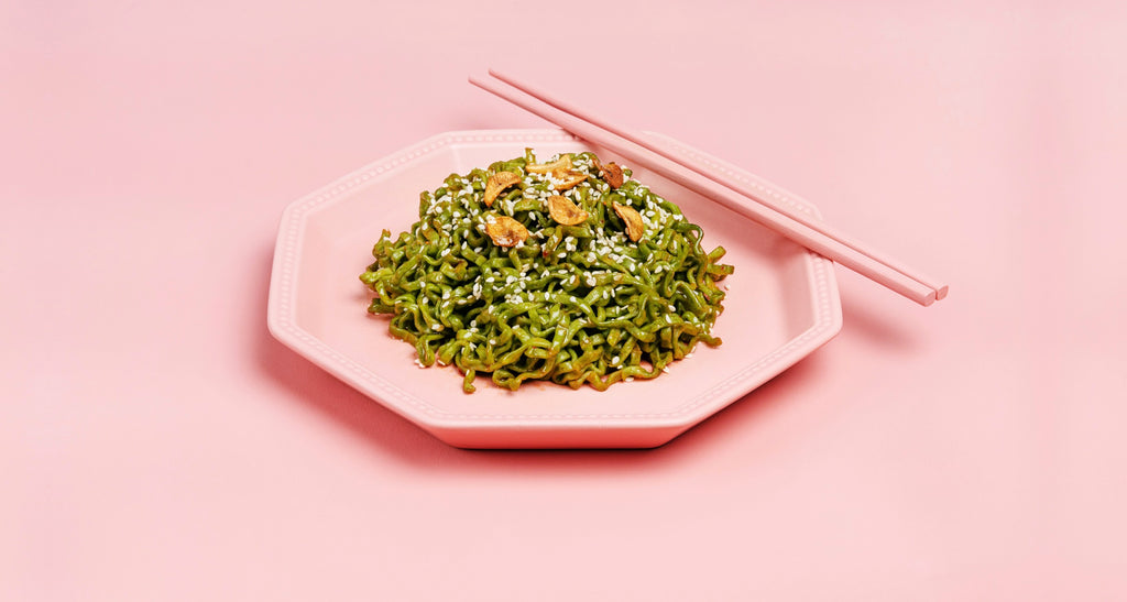 WhatIF Moringa Noodles with Pink Backdrop