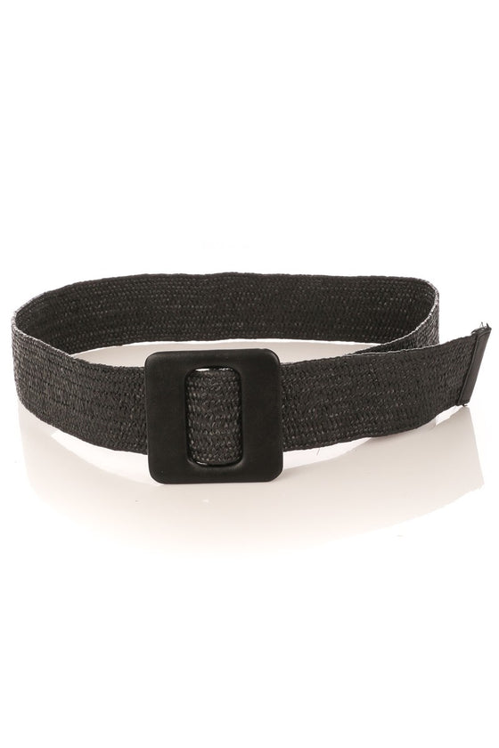 Black Flexible Braided Square Buckle Belt (5444659314848)