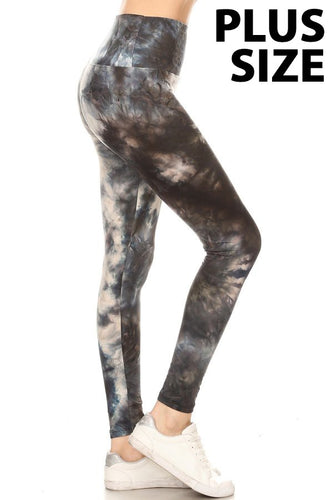Tongue Tied Black Tie-Dye Curvy Girl Leggings (5423906848928)