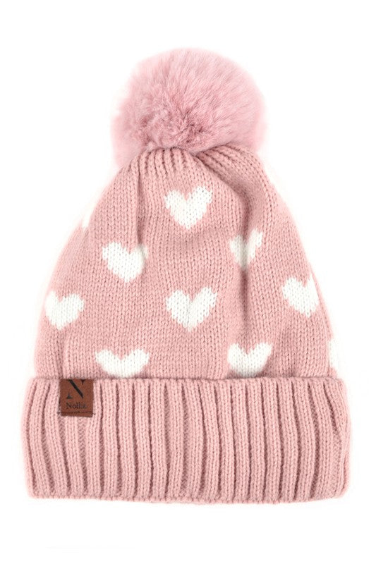 Women's Hearts and Pom Pom Knit Winter Hat (5913822232736)