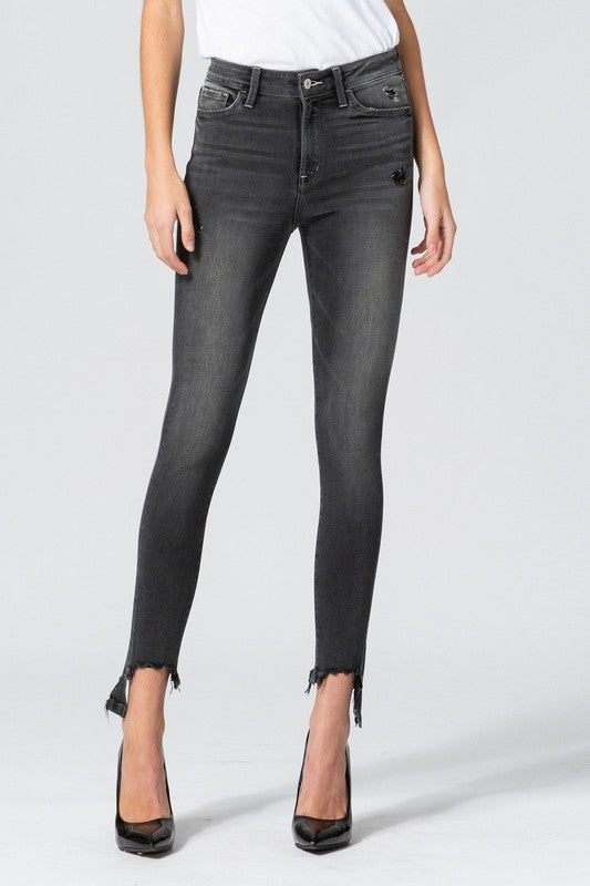 Flying Monkey High Rise Black Nail Skinny Jeans (5501394354336)