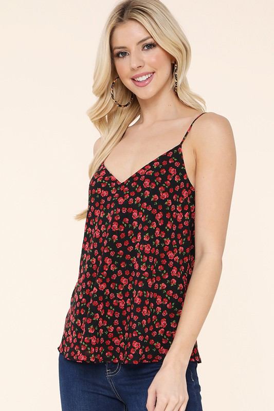 Floral Fantasy Black Sleeveless Top