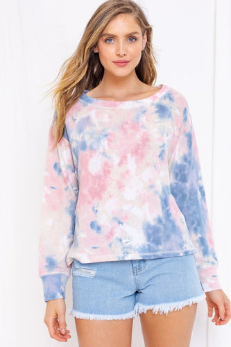 Twist of Fate Pink & Blue Tie-Dye Top (5549861961888)
