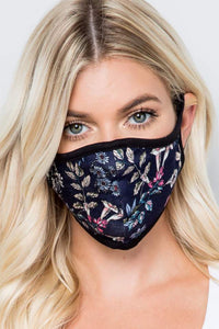 Reusable Black Floral Cotton Masks