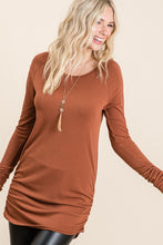 Load image into Gallery viewer, Ready To Go Rust Ruched Tunic Top (5738625695904)