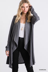 No Place Like You Charcoal Waffle Knit Cardigan (5508938662048)