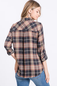 Words of Love Navy Plaid Button Up (5411734585504)