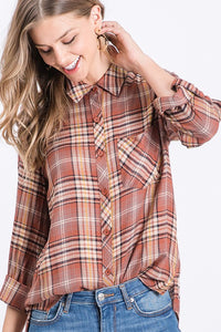 Words of Love Chestnut Plaid Button Up (5411734519968)