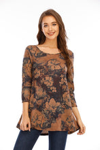 Load image into Gallery viewer, Mocha Madness Floral Knit Top (5529335857312)