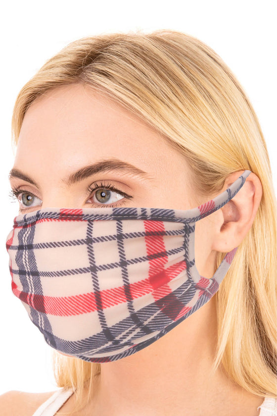 Taupe & Charcoal Plaid Face Mask (5505009713312)