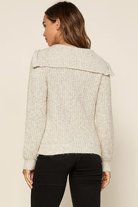 Take A Hint Oatmeal Front Zip Sweater (5501391962272)