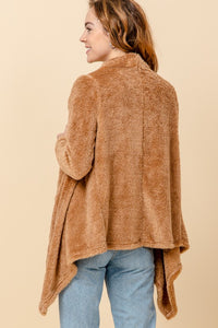 Simply Soft Taupe Teddy Waterfall Cardigan (5649922064544)