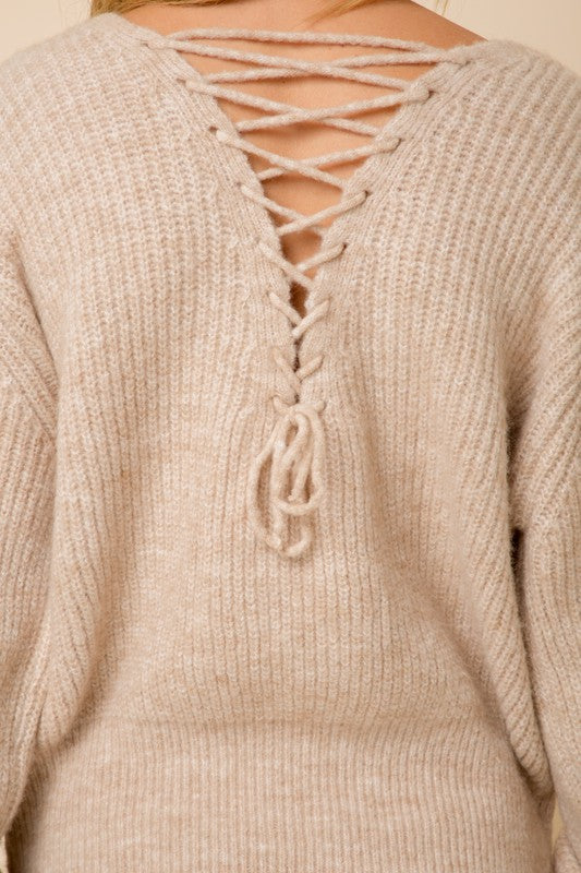Laced Up In Leisure Taupe Sweater (5649922687136)
