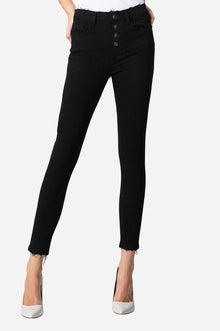 Flying Monkey's No More High Rise Button Up Crop Black Skinny Jeans (5790083514528)
