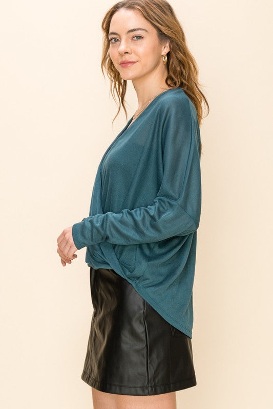 By Sheer Coincidence Teal Poncho Blouse (5809275240608)