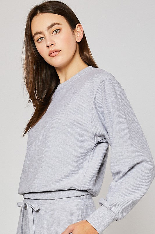 Strikes a Chord Pulllover in Light Heather Grey (6011128053920)