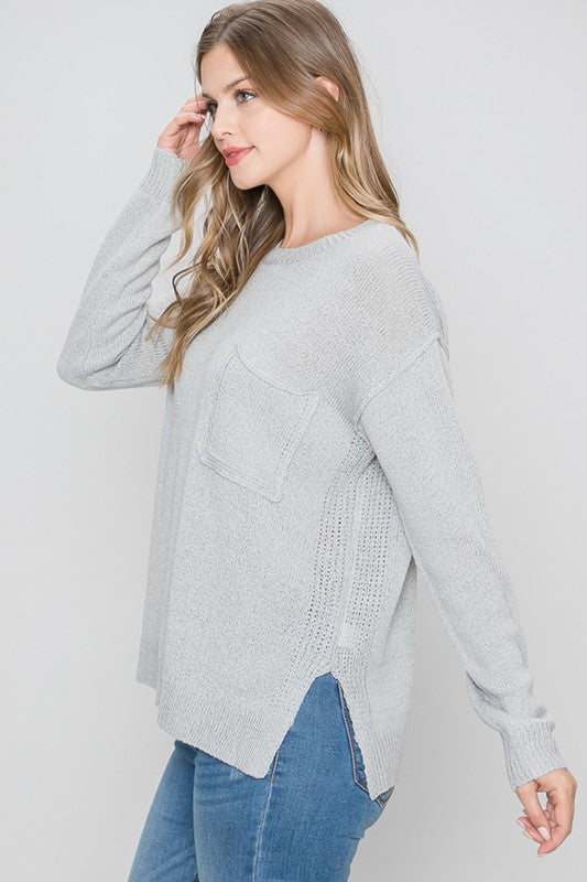 Wistful Wonder Sweater in Silver (5995338006688)
