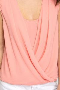 Peachy Keen Faux Wrap Sleeveless Top (5392619307168)