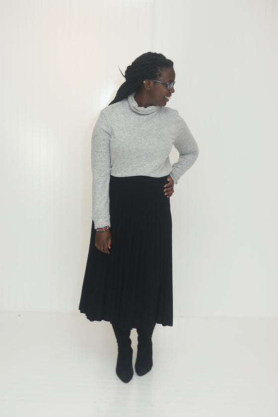 Wish You Well Black Pleated Skirt (5612189679776)