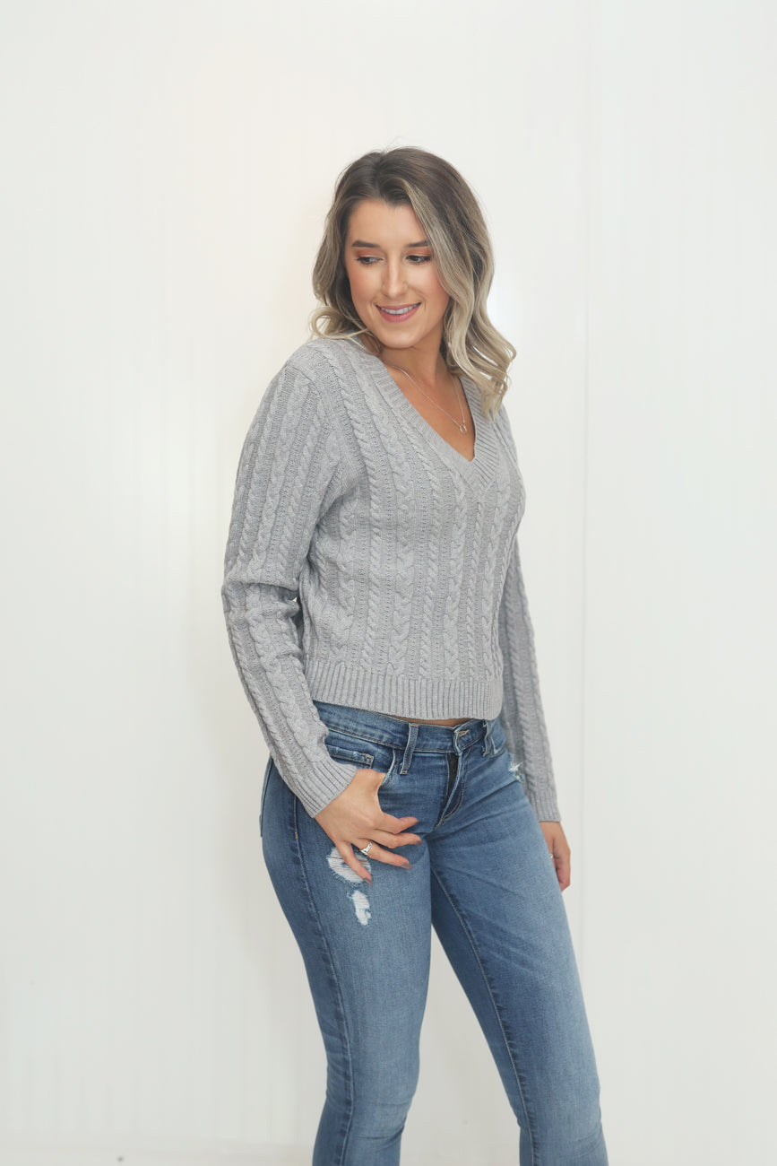 Gracious in Grey Cropped Cable Knit Sweater (5612189614240)